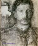 Врубель М.А. Автопортрет. конец 1904-начало 1905. Бумага, уголь, сангина, мел. 40х32,5. ГРМ