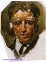 Врубель М.А. Мужской портрет. 1883. Бумага, акварель. 10,6х8. ГРМ