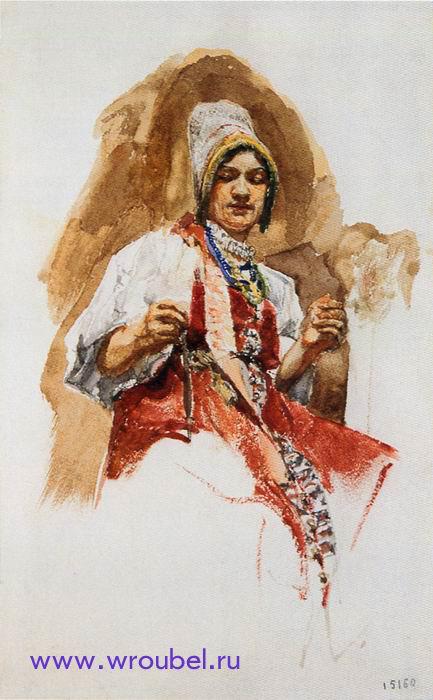 "1883 Врубель М.А. ""Пряха."""