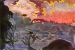 Врубель М.А. Фантастический пейзаж. 1890-е. Б. на к., акв., белила, граф. кар. 11,3х16,7. ГТГ