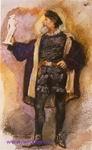 Врубель М.А. Мужчина в костюме XVI века со статуэткой в руке. 1884. Бумага, акварель. 18,3х11,2. ГРМ