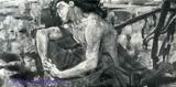 Врубель М.А. Демон (сидящий). 1890. Эскиз картины того же названия 1890 года. Б., акв., белила, граф. кар. 17х27. ГТГ.