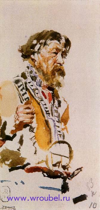 """1883 Врубель М.А. """"Натурщик в корельском костюме."""""""