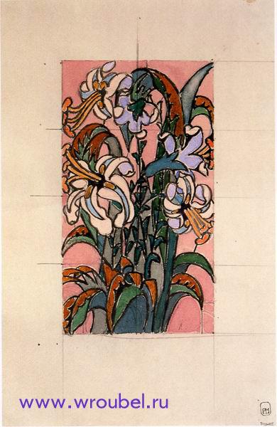 """1895 Врубель М.А. """"Эскиз для витража. Лилии."""""""