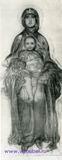 Врубель М.А. Богоматерь с младенцем. Эскиз к иконе Богоматерь с младенцем, исполненной для иконостаса Кирилловской церкви в Киеве. 1884-1885