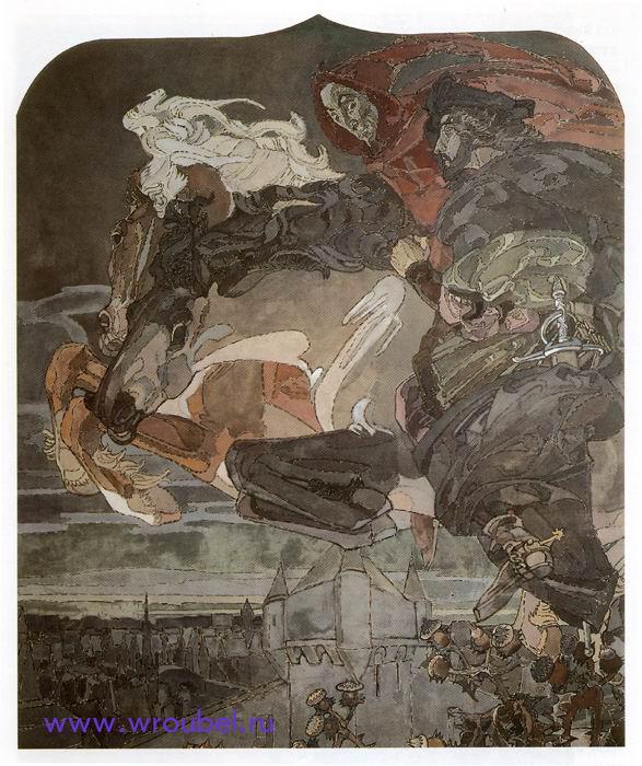 """1896 Врубель М.А. """"Полет Фауста и Мефистофеля."""""""