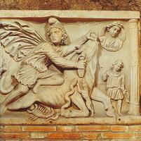 Митра убивает быка (Римский рельеф III века)