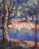 Картина Река в лесу
