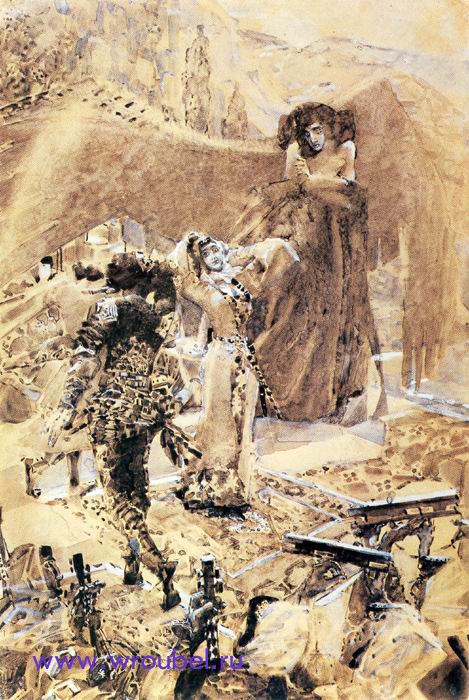 """1891 Врубель М.А. Пляска Тамары.Иллюстрация к поэме М.Ю. Лермонтова """"Демон"""""""