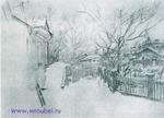 Врубель М.А. Дворик зимой. 1903-1904. Бумага, карандаш. 25,7х30. ГТГ