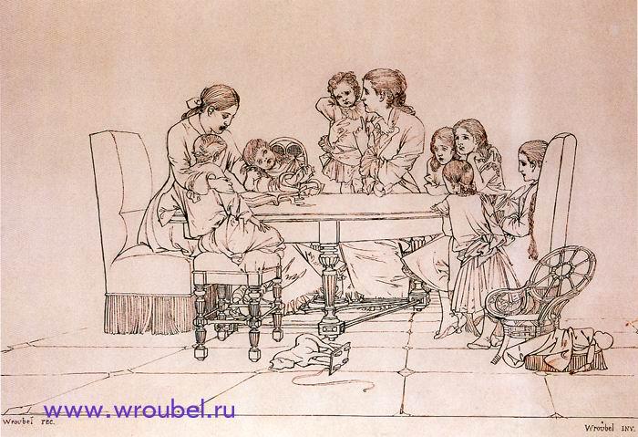 """1870 Врубель М.А. """"Чтение сказки."""""""