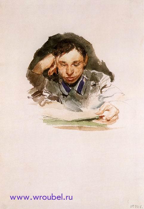"""1882 Врубель М.А. """"Портрет студента."""""""