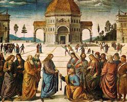 Христос, вручающий ключи Cв. Петру (П. Перуджино)
