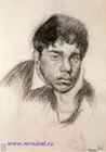 Врубель М.А. Портрет юноши. 1884. Бумага, угольный карандаш. 17,2х12,2. ГРМ