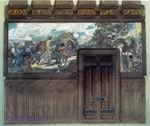 Врубель М.А. Отъезжающий рыцарь. Эскиз декоративного панно. Средняя часть триптиха. 1897. К. зеленый, акв., гуашь, граф. карандаш.