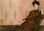 Врубель М.А. Портрет Н.И. Забелы-Врубель в кресле на фоне обоев. 1904. Бумага, акварель, графитный карандаш. 21,1х30,6. ГРМ