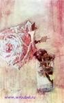 Врубель М.А. Роза. 1904. Бумага, наклеенная на картон, акварель, карандаш. 29,8х18,5. ГТГ