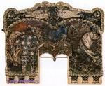 Врубель М.А. Вольга и Микула. На сюжет былины о Микуле Селяниновиче. Эскиз майоликового камина. 1899. Картон, акварель, гуашь, тушь, перо, бронзовая краска. 25,5х31. ГРМ