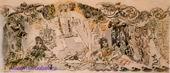 Врубель М.А. Россия. Волга и Ока. Эскиз неосущ. панно. 1896. Бумага, акварель, бронзовая краска. 21х48,6. ГРМ