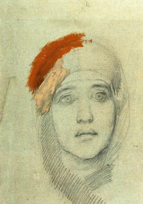 """1885 Врубель М.А. """"Женская голова (Эмилия Львовна Прахова)."""""""