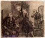 Врубель М.А. Моцарт и Сальери слушают игру слепого скрипача. Конец 1883- начало 1884. Бумага, угольн. кар. 25,5х34. Илл. к трагедии Пушкина Моцарт и Сальери. ГРМ