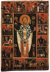 Икона Святой Николай Чудотворец с житием