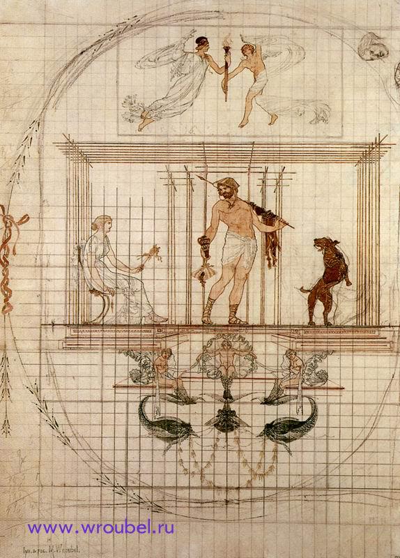 """1882 Врубель М.А. """"Античное панно."""""""