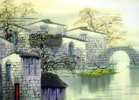 Водяной замок (Тиан Вы, тушь, акварель)