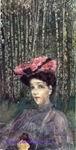 Врубель М.А. Портрет Н.И. Забелы-Врубель на фоне березок. 1904. Акварель, пастель, черный и графитный карандаши. ГРМ