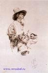 Врубель М.А. Крестьянин-лирник. Этюд костюмного класса. 1881. Бумага, коричневая тушь, перо. 21,4х13,3. ГРМ