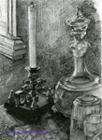 Врубель М.А. Натюрморт. Подсвечник, графин, стакан. 1905. Бумага, карандаш, 25х17,9. ГРМ