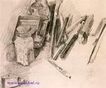 Врубель М.А. Художественные принадлежности автора. 1904. Бумага, графитный карандаш. 14,5х17,3. ГРМ