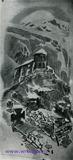 """Врубель М.А. Монастырь на Казбеке. 1890-1891. Илл. к поэме М.Ю. Лермонтова """"Демон"""". К., акв. (черная), тронут белилами."""