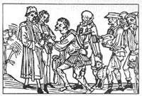 Крестьяне сдают оброк (рисунок XV в.)