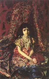 Девочка на фоне персидского ковра (1886 г.)