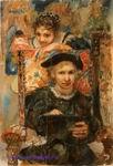 Врубель М.А. Гамлет и Офелия. Конец 1883- начало 1884. Бумага на картоне, акварель. 24,4х16,7. ГРМ