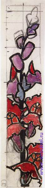 """1895 Врубель М.А. """"Эскиз для витража. Львиный зев."""""""