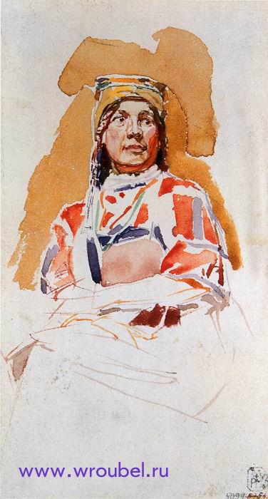 """1883 Врубель М.А. """"Натурщица в мордовском костюме."""""""