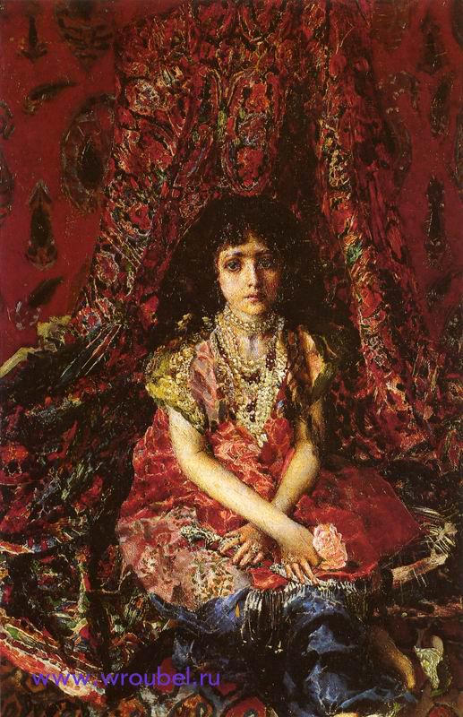 """1886 Врубель М.А. """"Девочка на фоне персидского ковра."""""""