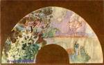 Врубель М.А. Итальянский пейзаж с фигурой. 1890-е. Эскиз для веера. Шелк, акв. 22,5х62,5. ГТГ