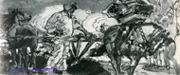 Врубель М.А. Микула Селянинович. 1896. Б., акв., белила, лак, кисть, перо. 8,7х22,2. Гос. музей и-в Грузинской ССр, Тбилиси.