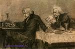 Врубель М.А. Сальери всыпает яд в бокал Моцарта (Сцена II). Конец 1883-начало 1884. Бумага, угольн. кар. 25,7х33,9. Илл. к трагедии Пушкина Моцарт и Сальери. ГРМ